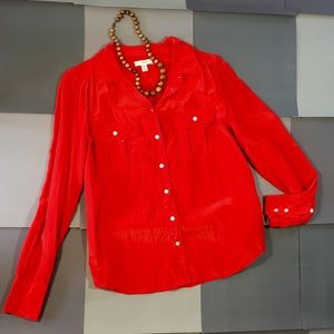 Chic J.Crew Red Silk Blouse